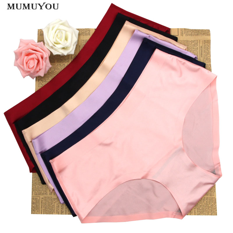 Mid Waist Solid Color Seamless Women/'s Plus Size Briefs Panties Underwear