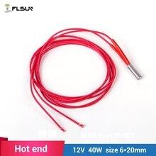 5 pcs 3D printer Flusn hot end Heater Cartridge 12V 40W M6*20mm for Reprap Hot End 1 metre wire