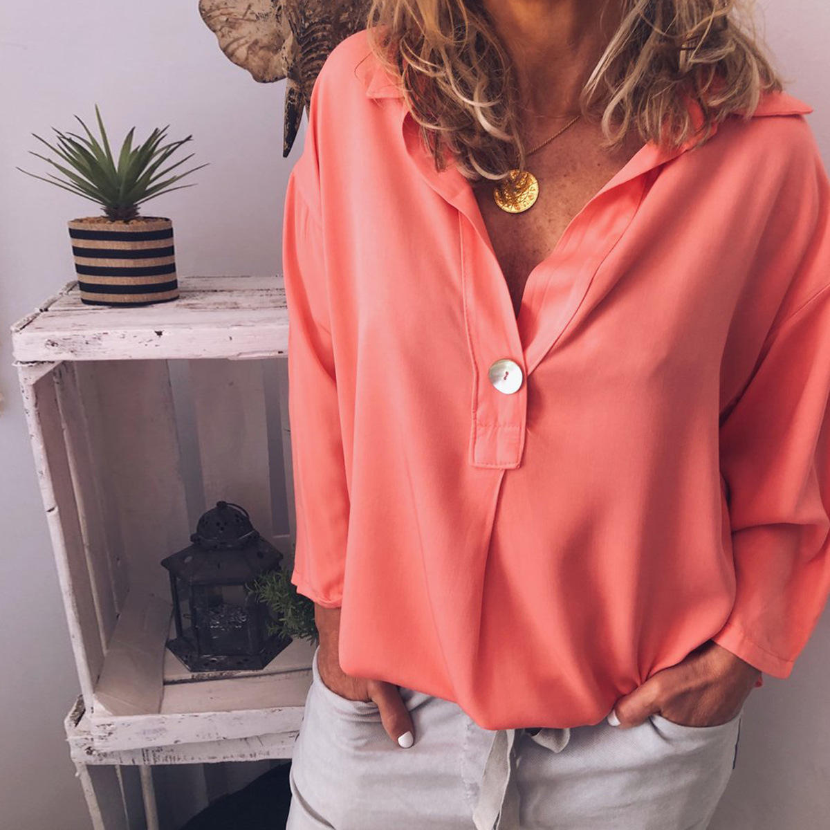 LISALA Casual Loose Women Shirts 2019 Autumn New Fashion Blouse Long Sleeve v neck White Tops Streetwear in Blouses amp Shirts from Women 39 s Clothing