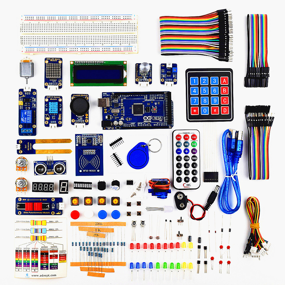 Adeept DIY Electric RFID Starter Kit Arduino MEGA 2560- ի հետ `Ardublock- ի Գրքերի մշակման Freeshipping Գիրք DIY diykit