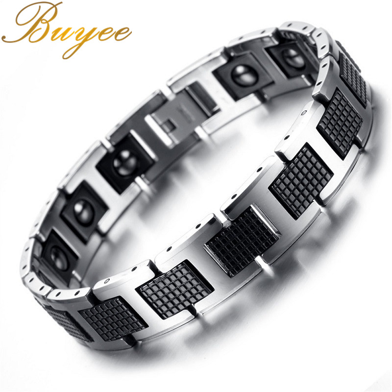 BUYEE Magnetic Therapy Bracelet Men Jewelry Black Power Tungsten Bracelets & Bangles Health Care Jewelry