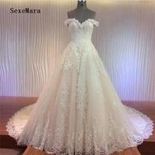 SexeMara Sweetheart Neck Tulle Wedding Dresses with Corded