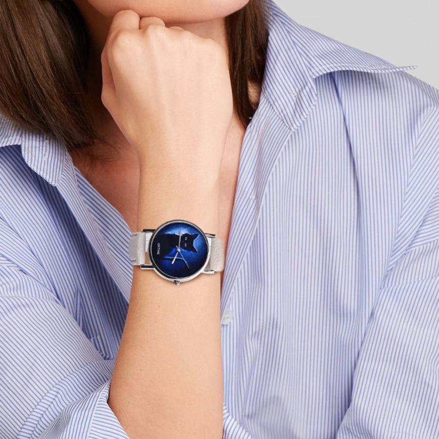 OKTIME женские часы таинственный черный Кот искусственная кожа аналоговые кварцевые часы женские часы Лидирующий бренд Роскошные повседневные часы для женщин кошка