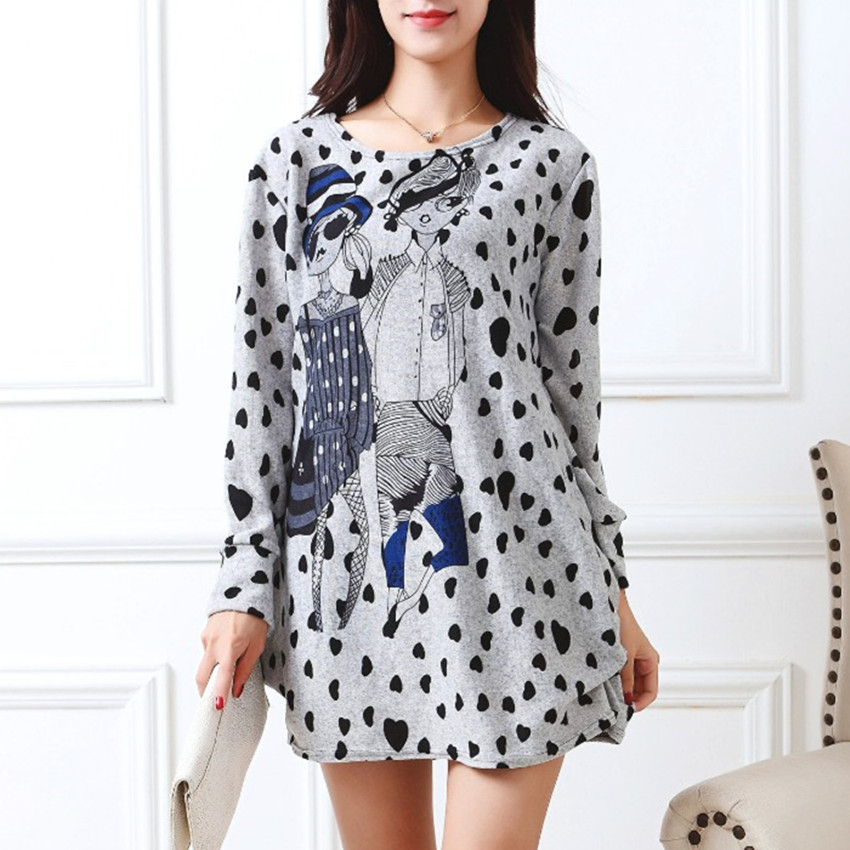 2019 New Long-sleeve O-neck Cashmere Sweater Large Size Casual Print Tunic Thin Fashion Pullovers Tops Dot Polyester Cute Loose