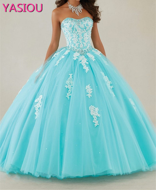 babb38c6570 NEW Elegant 2019 Aqua Blue Strapless Tulle Ball Gown Quinceanera Dress With  Beaded Lace Applique Sweet 16 Princess Dress