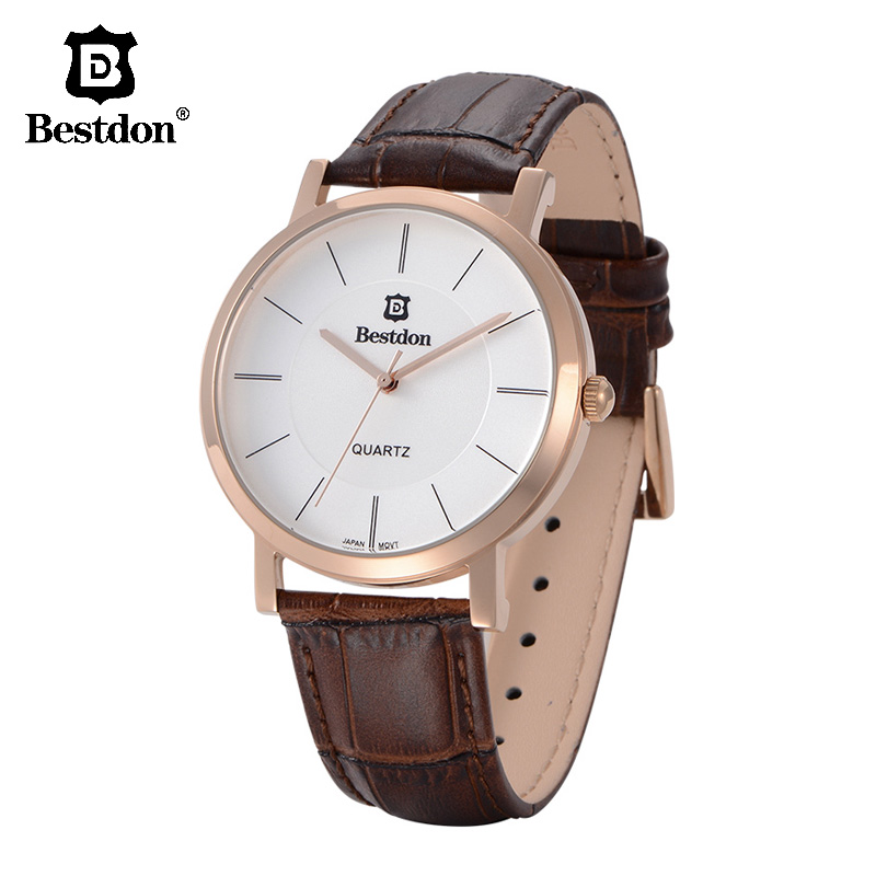 Bestdon Classic Leather Men's Watch Switzerland Luxury Brand Rose Gold Couple Watches Unisex Fashion Quartz Women Wristwatch Hot