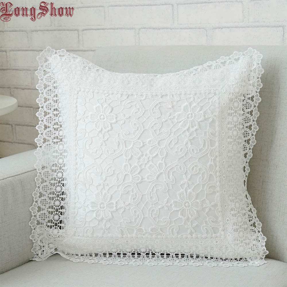 LongShow 45x45cm Square Home Decorative Light Coffee White Grey Taupe Color Pure Lace Embroidered Thick Pillow Case