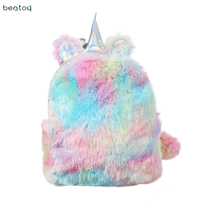 Hologram Leather Women Unicorn Backpacks Fur Schoolbags For Teenage Student Girls Travel Shoulder Bag Female Bagpack Mochila