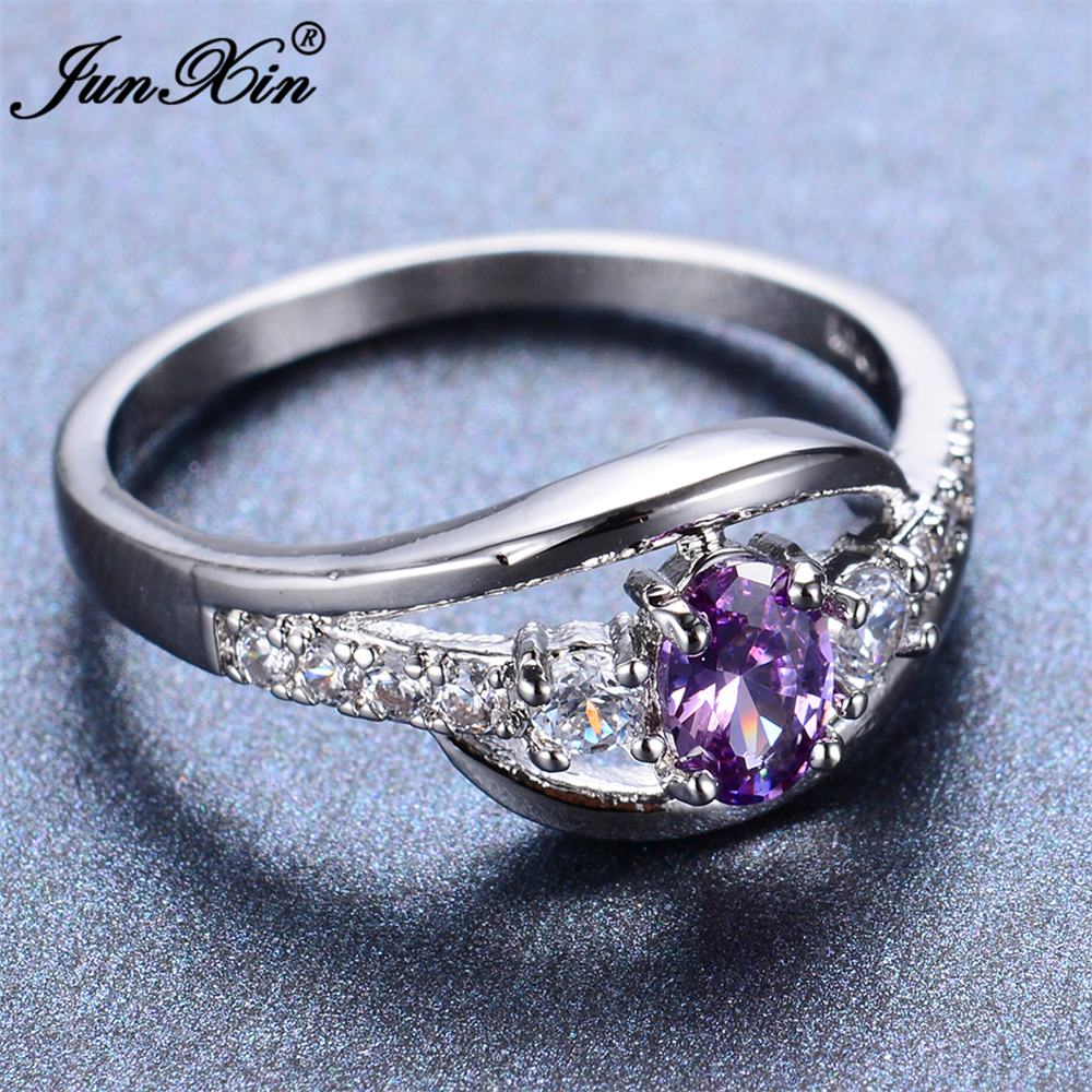 JUNXIN Elegant Purple Oval Ring Fashion Jewelry White Gold
