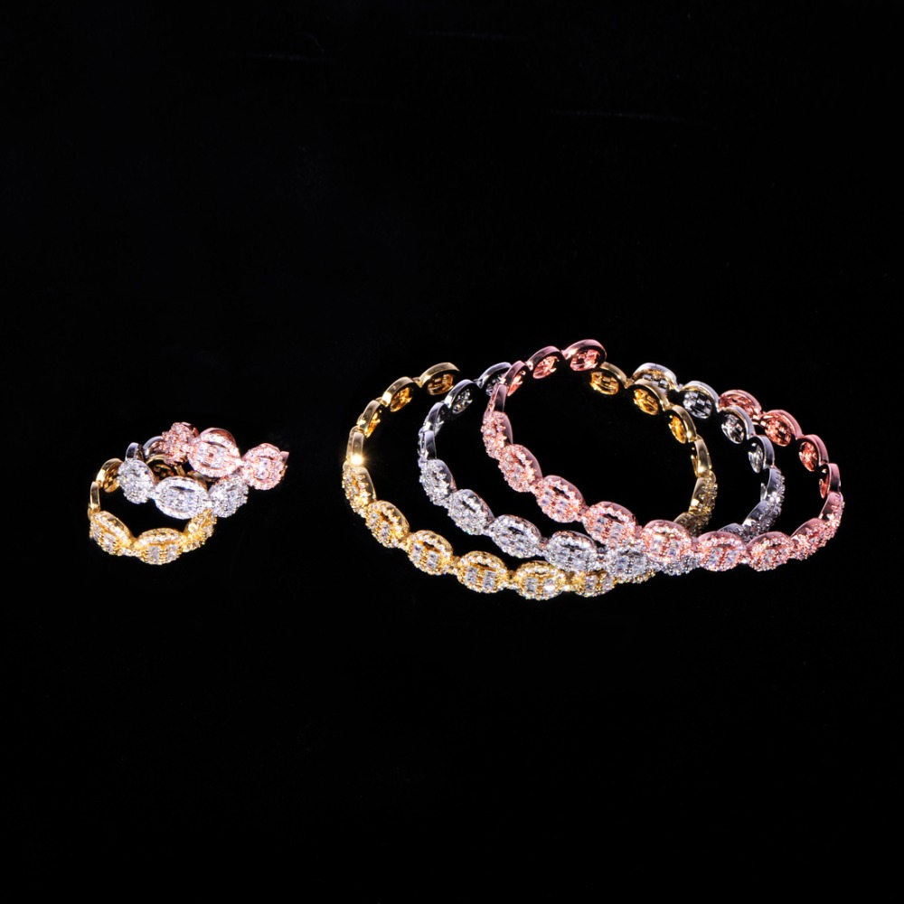 Blucome 6Pc Luxury Womens Coin Shape Ring Bracelet Sets Wedding Party Shiny Full Zircon 3 Color Bride Jewelry Set Gift OrnamentBlucome 6Pc Luxury Womens Coin Shape Ring Bracelet Sets Wedding Party Shiny Full Zircon 3 Color Bride Jewelry Set Gift Ornament