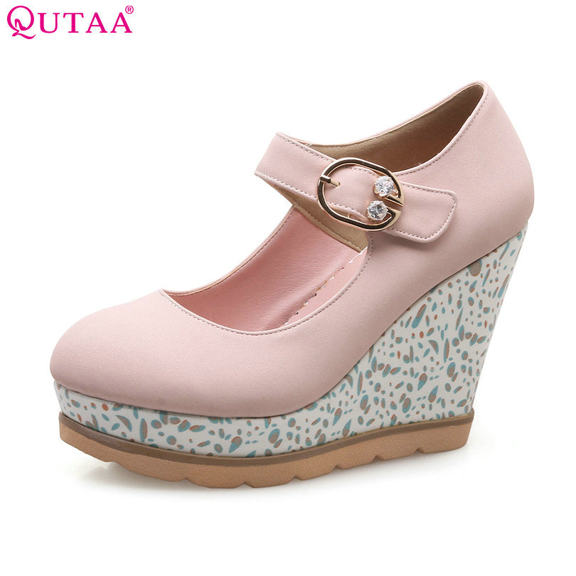 QUTAA 2018 Women Pumps PU Leather Woman Shoes Platform Wedge High Heel Mary Janes Buckle Pink Ladies Wedding Pumps Size 34-42 size 34 43 pu patent leather wedge low heel ladies spring shoes woman pump mixed color white rivet ladies wedding shoes
