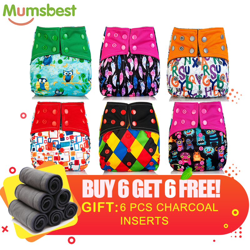 [Mumsbest] 6 Bamboo Charcoal Diaper + 6 Charcoal Insert Free Cloth Diaper Nappy 3-36 Months Baby Diapers Pocket Wholesale Nappy