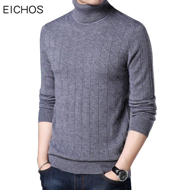 EICHOS New Winter Sweaters Men 2017 High Quality 100% Wool Knitwear Jumper Men Thick Long Sleeve Mens Turtleneck Sweater 1758MY