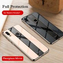 For XiaoMi Redmi Note 7 Case Luxury Plating TPU +PC Plexiglass Mirror Cover for Note7 Pro  case