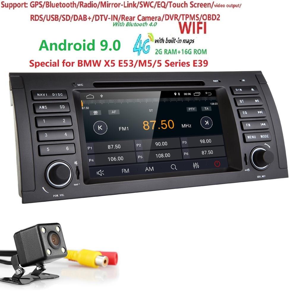 Android 9.0 2G RAM 16G ROM GPS Navi Car DVD Multimedia for BMW E53 X5 E39 5 97 06 DAB+ Wifi 4G BT RDS Radio Can bus DVR Monitor