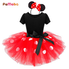 цена на PaMaBa Newborn Baby Girls Minnie Dress Red/Rose Polk Dot Swing Short Sleeve Tutu Dress Clothes Kid's Party Dress with Hairband
