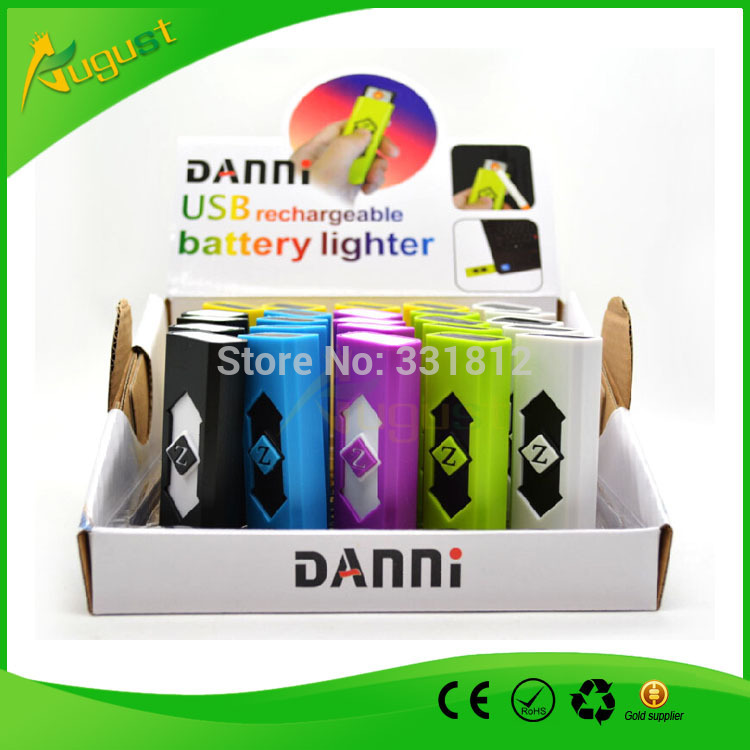 100pcs/lot danni usb lighter for cigarette smoking metal pipe with rechargeable battery flameless