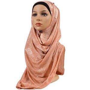 Image 5 - Feminino elástico liso algodão flor hijab cachecol elástico muçulmano hijab headwear envoltórios macio confortável xales atacado 10 pçs/lote