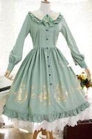 Strawberry Witch Custom Tailored Alice In Wonderland Series Sweet Lolita OP Gold Glided Long Sleeve Shirt