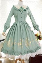 Strawberry Witch Custom Tailored Alice in Wonderland Series Sweet Lolita OP Gold Glided Long Sleeve Shirt Dress