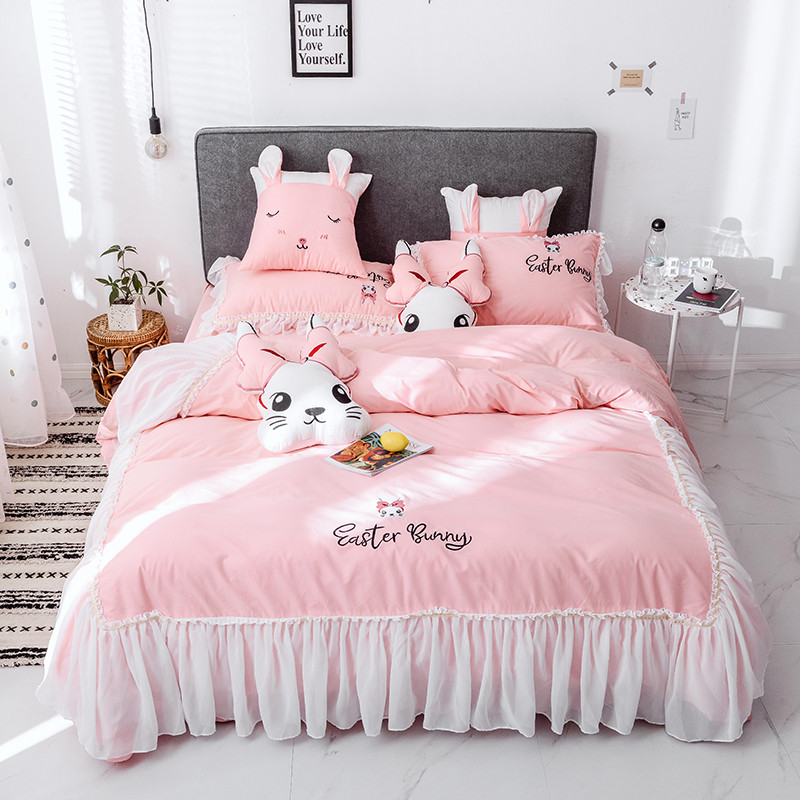 Pink Gray Yellow White Cartoon Rabbit Embroidery 100% Cotton Princess Bedding Set Lace Duvet Cover Bed Sheet/Linen Pillowcases