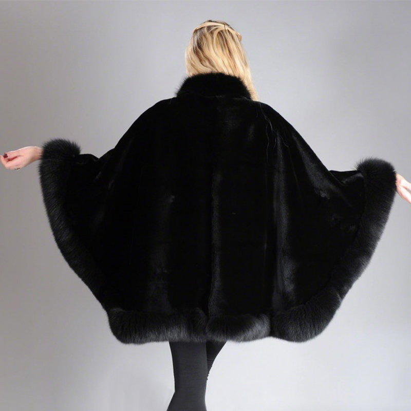 Image 2 - 2019 BFFUR Real Fur Fox Coat For Womens Natural Mink Fur Coat Ponchos Whole Skin Covered Capes Women Winter Fashion Slim ShawlReal Fur   -