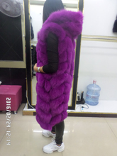 The real   fox fur vest  with  hood   long  90cm
