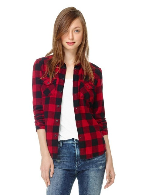 2017 Autumn Ladies Black Red Flannel Plaid Shirt Women Blouses Cotton Tops For Women Clothing Brand Blusas Femininas Outwear