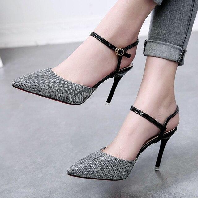 53edc5c33b9767 2018 Summer Women Sandals Cover Toe Pumps High Heels Woman Dress Shoes Sexy  Black Heels sandalias