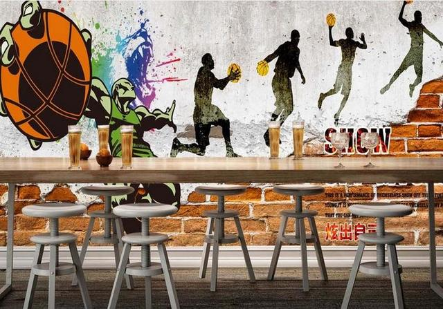 3d Wall Murals Wallpaper Custom 3d Room Wallpaper Basketball Graffiti Wall  Paper Non Woven Photo Part 60
