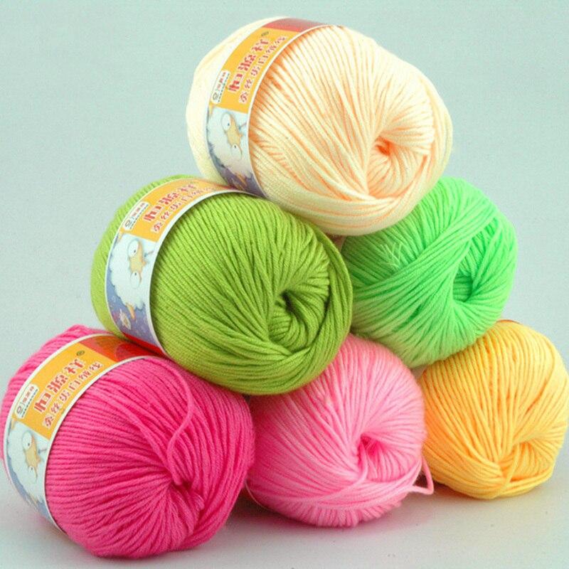8 kuliček 400g / lot měkké hedvábné vlákno kašmírové vlněné příze pro děti Ekologická barvená dětská příze pro pletení