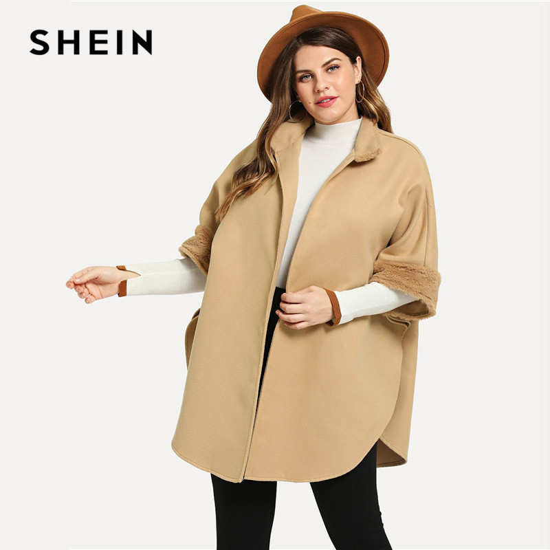 Plus Size Dresses Fur Cuffs: SHEIN Plus Size Faux Fur Cuff And Collar Detail High