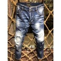 specail cloth design Top Mens Distressed Embellished Ribbed Stretch Moto Pants blue Biker Jeans Slim fit Trousers big Size 44 54