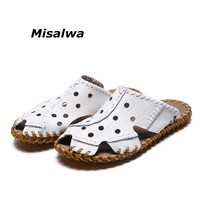 Misalwa Sandals Men 2019 Summer Handmade Leather Casual Slippers Beach Breathable Waterproof Shoes Male White Flat Drop Shipping