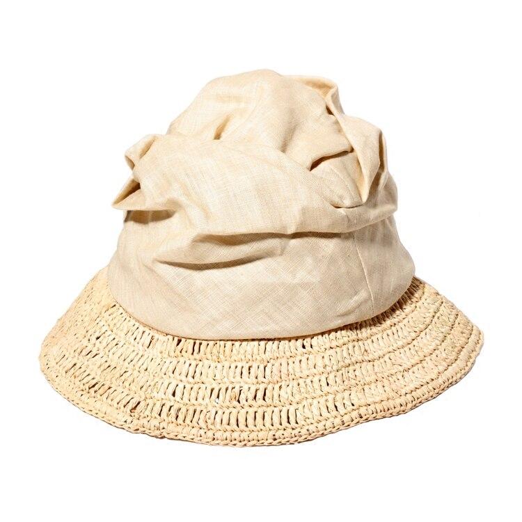 Sommer Hüte Für Frauen Lässige Faltbare Baumwolle Linie + Bast Patchwork Stroh...