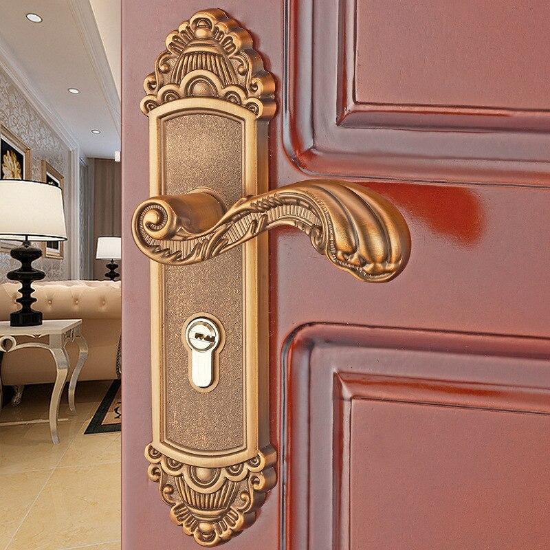 European style indoor Bedroom door lock Aluminum alloy door handle Bathroom wood door lock door handle handle auxiliary locked copper door door handle lock double door door lock door lock
