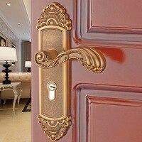 European style indoor Bedroom door lock Aluminum alloy door handle Bathroom wood door lock door handle