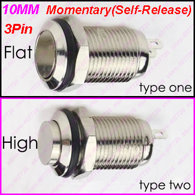 2PCS 10MM Mini Metal Button Switch 3Pin Momentary/Self-Released/Not-Locking Power Push Button Flat/High Head Type 2A/36VDC