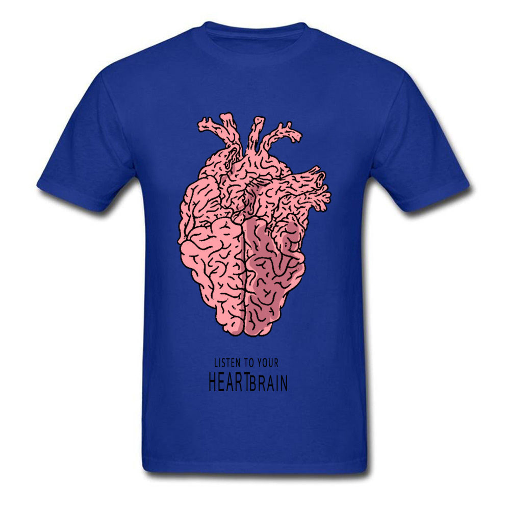 listen-to-your-Heart-Brain-0621 Normal T-shirts for Men 100% Cotton Summer/Autumn Tops & Tees Tee-Shirts High Quality O Neck listen-to-your-Heart-Brain-0621 blue