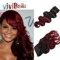 Barato 7 unids/set rojo armadura del Clip en el pelo Remy burdeos pelo brasileño 100 G Ombre rojo bicolor Clip en extensiones de cabello humano