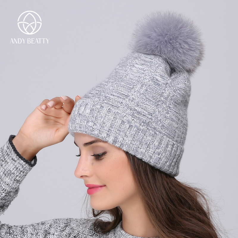 Andybeatty New Wool Fox Fur Pom Poms Hats For Women Mix Color Winter Knitted Casual Vogue Warm Winter Hats Skullies Beanies