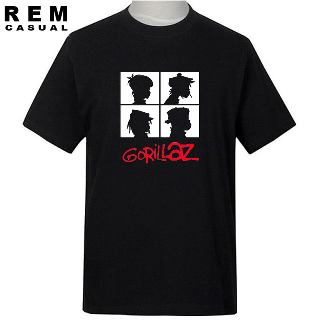 REM summer brand music band gorillaz t-shirt cotton tops tees men short sleeve boy casual homme t shirt fashion Free shipping