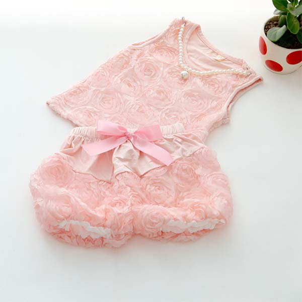 Pink Kid Infant Girls Rose Blouse Tops + Bowknot Short Pants Clothes Outfits toddler kid baby girl clothes set 3 pcs infant off shoulder blouse tops denim hole pants jeans headband outfits clothes