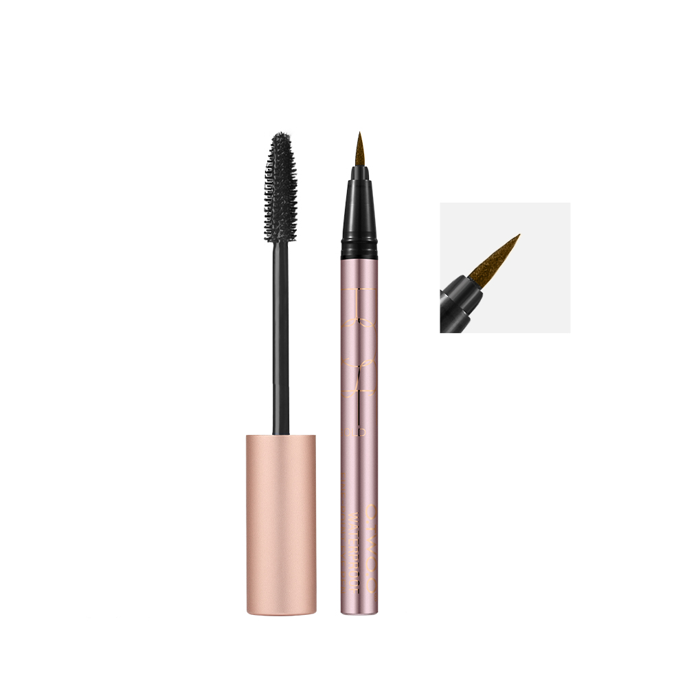 O.TWO.O 2pcs/set Makeup Set Thick Lengthening Mascara+Eyeliner Colorful Waterproof Eyeliner