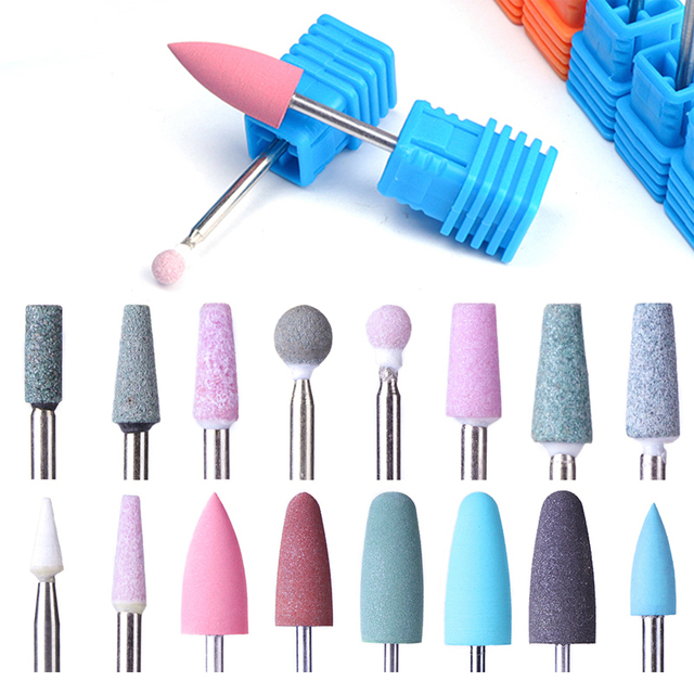 1pcs Opt 16 Type Rubber Silicone Ceramic Milling Burr Nail Art Cutter Polishing Buffer Files Electric Machine Drill Bit TR065