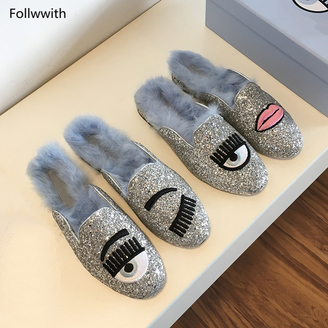 New Arrival Indoor Outside Women Flats Bling Glitter Eyes Lips Women  Slippers Fur Embroidery Flats Loafers Size c31d8ebbc259