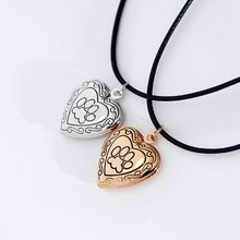Cat Dog Mother`s Day Gift Paw Footprint Necklace New Photo Frame Silver/Gold Color Memory Locket Necklace Pendant Pet(China)
