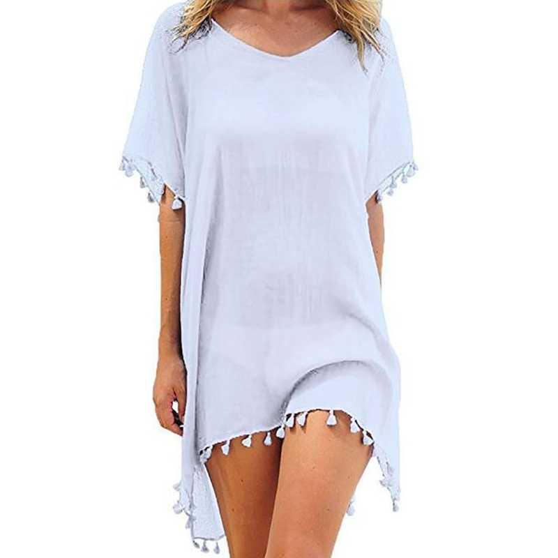 2019 новая шифоновая пляжная одежда для женщин с кисточками, купальник, купальный костюм, летний купальник, мини-платье, свободное однотонное парео Ups