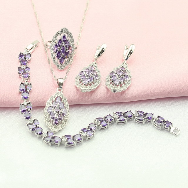 ASHLEY Purple Cubic Zirconia Silver Plated Jewelry Sets For Women Drop Earrings/Bracelet/Necklace/Pendant/Ring Free Gift Box