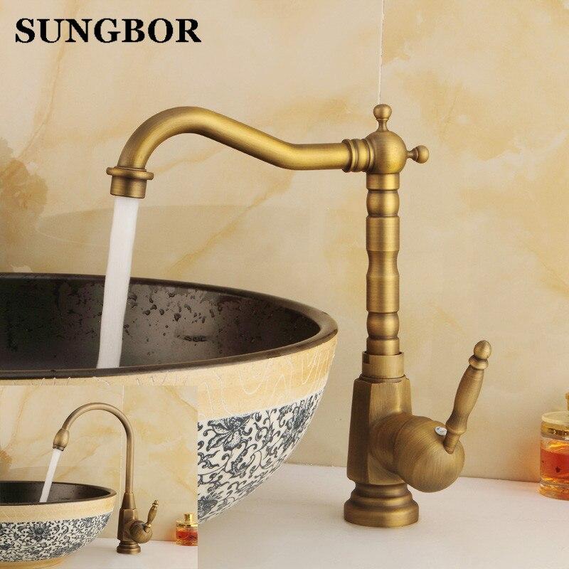 Ванная комната раковина кран античная бронза 360 градусов бассейна кран водопроводной воды Одной ручкой холодной и горячей воды AL-7156F